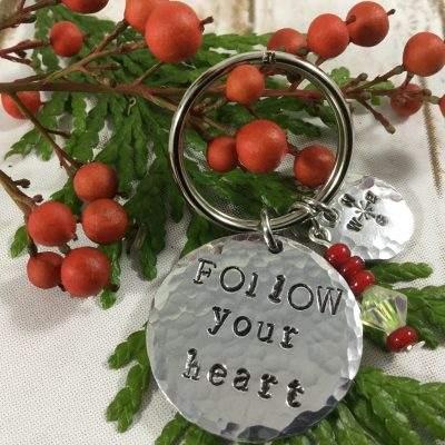 Follow Your Heart Compass Keychain