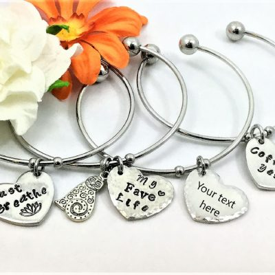 Open Bangle Personalized Charm Bracelet