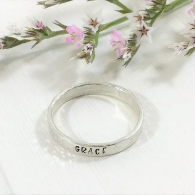 Silver Stackable Name Rings