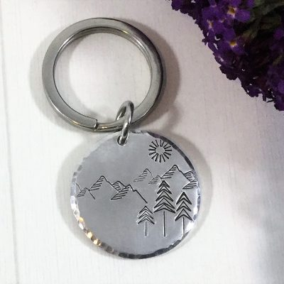 Mountain Scene Handstamped keychain