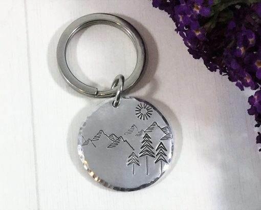 Mountain Scene Handstamped keychain