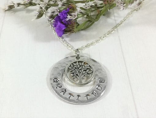 Gratitude Handstamped Necklace with Charm
