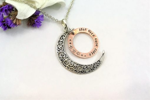 Wild Moon Child Copper Ring Necklace