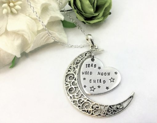 Crescent Moon Wild Child Heart Necklace
