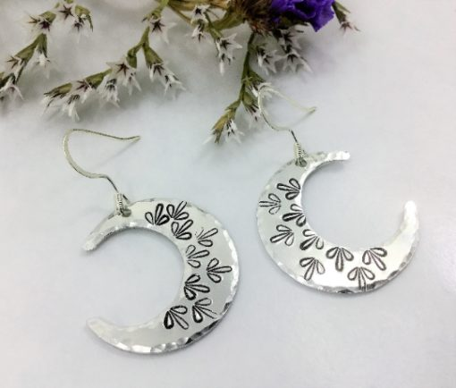 Mandala Crescent Moon Earrings