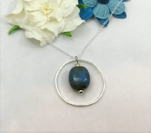 Natural Stone and Silver Hammered Necklace
