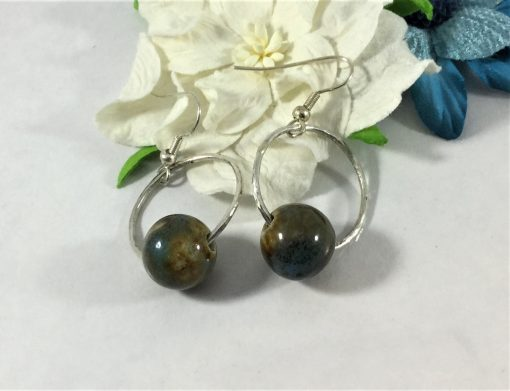 Natural Stone and Silver Hammered Earrings