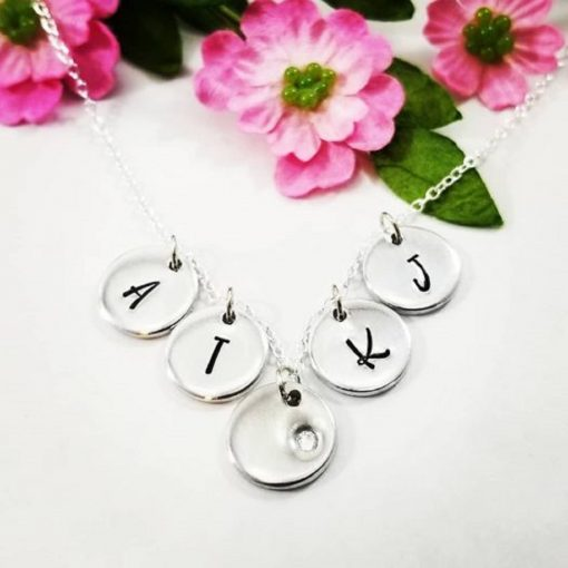 Tiny Initial Circle Necklace