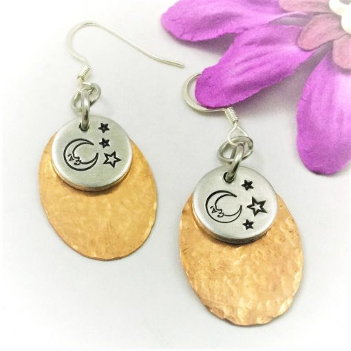 Copper Oval Moon Stars Earrings