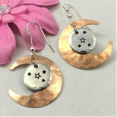 Copper Moon Silver Circle Star Earrings