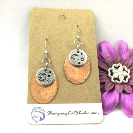 Copper Oval Moon And Stars Earrings